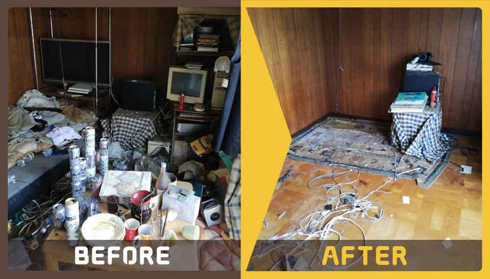 大量の不用品処分(ベッド、テーブル、テレビ、パソコンなど部屋のにある物全て)とお部屋の片づけ希望でご依頼頂きました。